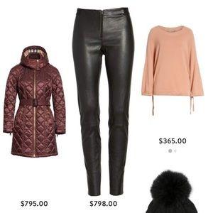 Alice & Olivia front zip leather pants/leggings